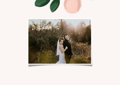 Dankeskarte Hochzeit mit Foto und eleganten Blumenzweigen 3
