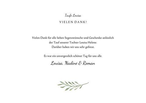 Dankeskarte Taufe botanisches Kreuz und Foto 3