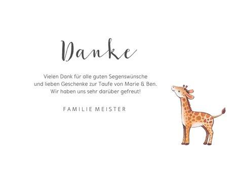 Dankeskarte Taufe Geschwister Giraffen im Blumenkranz 3