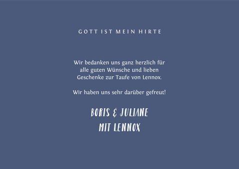 Dankeskarte Taufe Kreuz blau Spritztechnik Foto 3