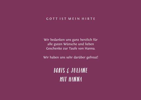 Dankeskarte Taufe Kreuz pink Spritztechnik Foto 3
