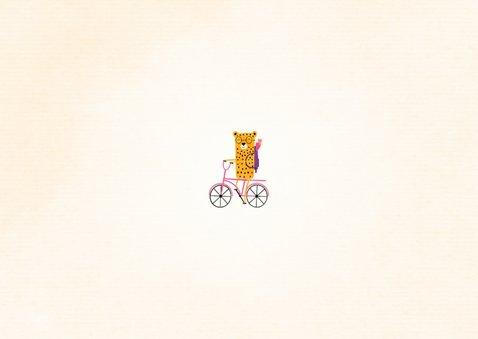 Dankeskarte zur Einschulung rosa Rad mit Leopard Rückseite