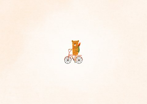 Dankeskarte zur Einschulung rotes Rad mit Leopard Rückseite