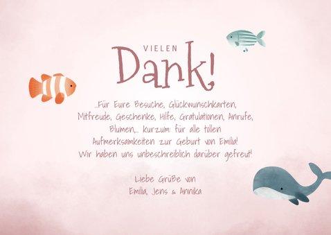 Dankeskarte zur Geburt Fotocollage rosa Unterwasserwelt 3