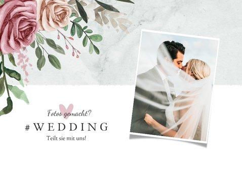 Dankeskarte zur Hochzeit Foto, Rosen & Marmor 2