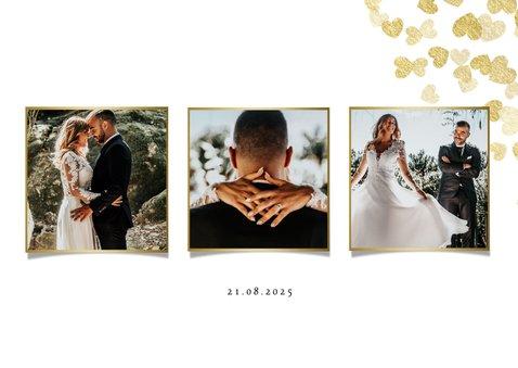 Dankeskarte zur Hochzeit Goldene Herzen 2