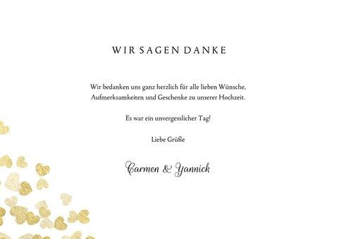 Dankeskarte zur Hochzeit Goldene Herzen 3