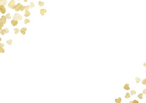 Dankeskarte zur Hochzeit Goldene Herzen Rückseite