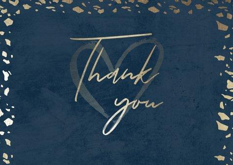 Dankeskarte zur Hochzeit mit Foto in dunkelblau mit Gold 2