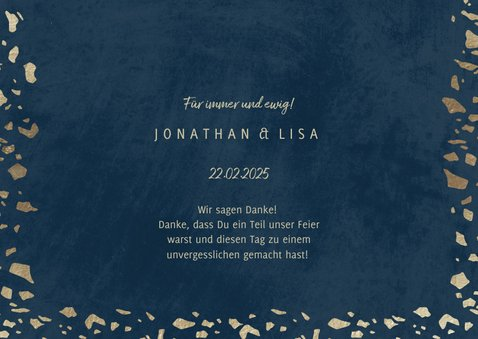 Dankeskarte zur Hochzeit mit Foto in dunkelblau mit Gold 3
