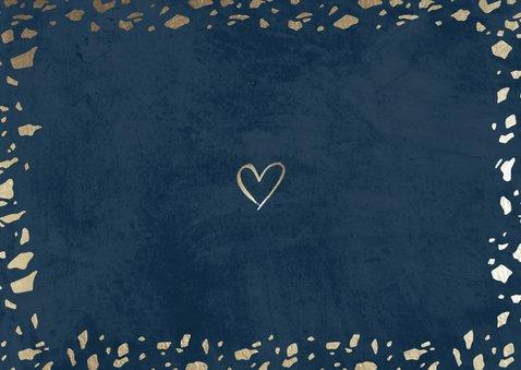 Dankeskarte zur Hochzeit mit Foto in dunkelblau mit Gold Rückseite
