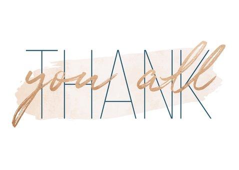 Dankeskarte zur Hochzeit mit Foto 'Thank you all' Goldlook 2