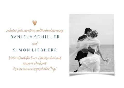 Dankeskarte zur Hochzeit mit Foto 'Thank you all' Goldlook 3