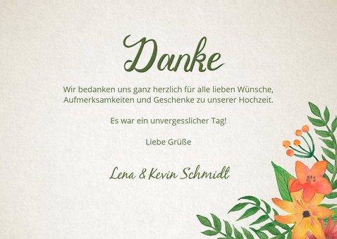 Dankeskarte zur Hochzeit Vintage Blumen mit Foto 3