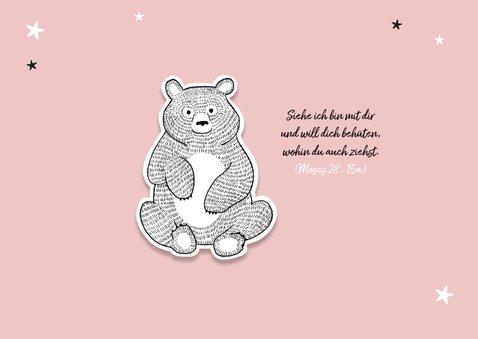 Dankeskarte zur Taufe eigenes Foto rosa Bär und Sterne 2