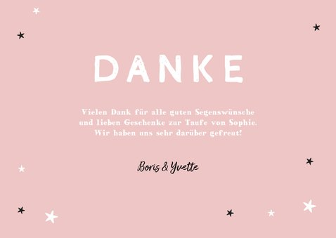 Dankeskarte zur Taufe eigenes Foto rosa Bär und Sterne 3