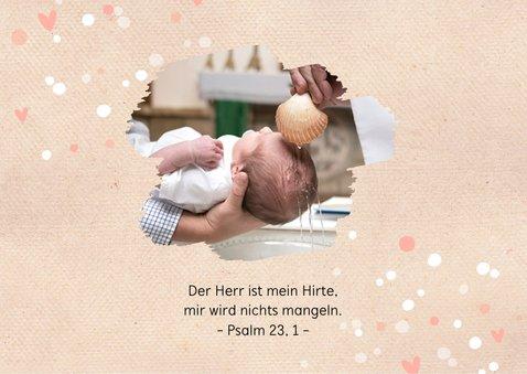 Dankeskarte zur Taufe Fotos, Punkte und Herzen 2