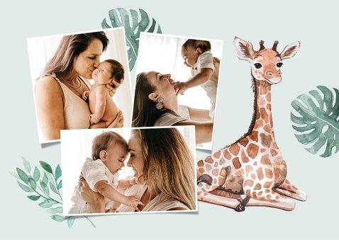 Dankeskarte zur Taufe süße Giraffe Fotos innen 2