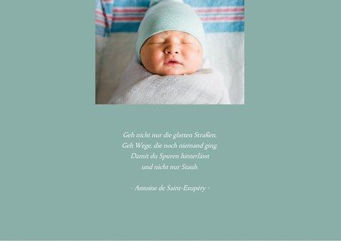 Danksagung Geburt grafisch grün eigenes Foto 2