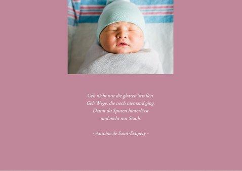 Danksagung Geburt grafisch rosé eigenes Foto 2