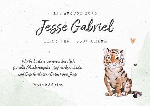 Danksagung Geburt Tiger botanisch grün Foto innen 3