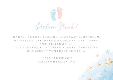 Danksagung Geburtskarte Zwilling blau-rosa Füßchen 3