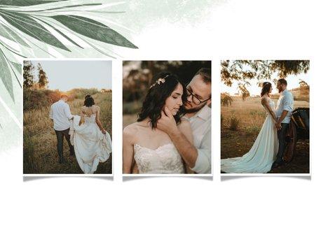 Danksagung Hochzeit Fotocollage zierliche Blätter 2