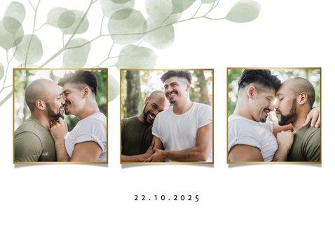 Danksagung Hochzeit mit Fotos und Eukalyptus 2