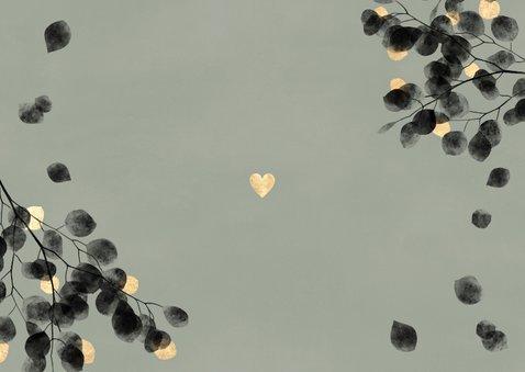 Danksagung Hochzeitsfeier Eukalyptus schwarz Fotos Rückseite