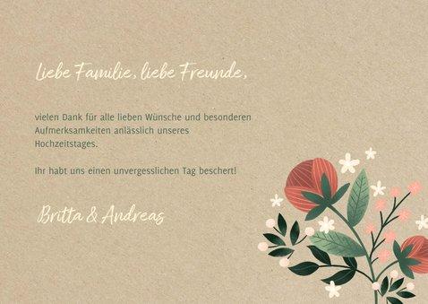 Danksagung Hochzeitstag Blumen auf Kraftpapier 3
