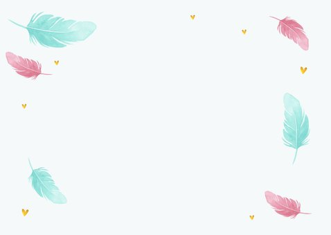 Danksagung Taufe Foto & Federn in rosa und blau Rückseite