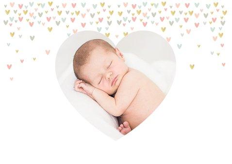 Danksagung Taufe mit Foto und kleinen Pastellherzen 2