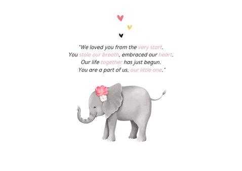 Danksagung zur Adoption Foto & Elefant rosa 2