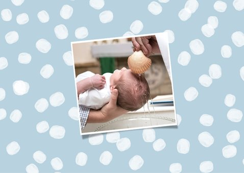 Danksagung zur Taufe blau mit Punkten und Fotos 2