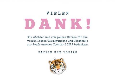 Danksagung zur Taufe Fotos Tierprint und Tiger 3