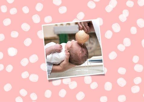 Danksagung zur Taufe rosa mit Punkten und Fotos 2