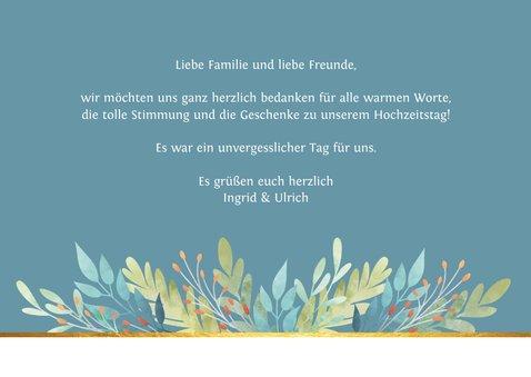 Danksagungskarte blau mit Blumenschmuck 3