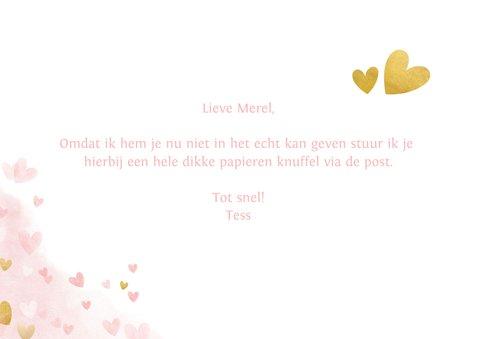Dikke knuffel kaart voor een vrouw roze met hartjes 3