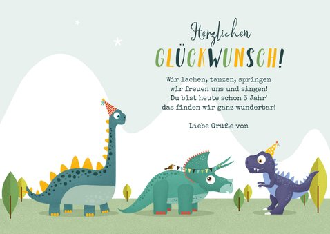 Dino-Glückwunschkarte Geburtstag 3