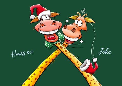 Een verrekt grappige kerstkaart met twee giraffen 3