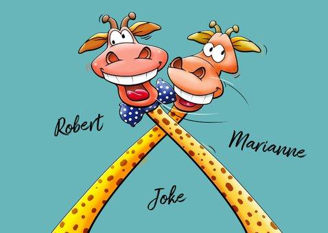 Een verrekte leuke verjaardagskaart met 2 giraffen 3