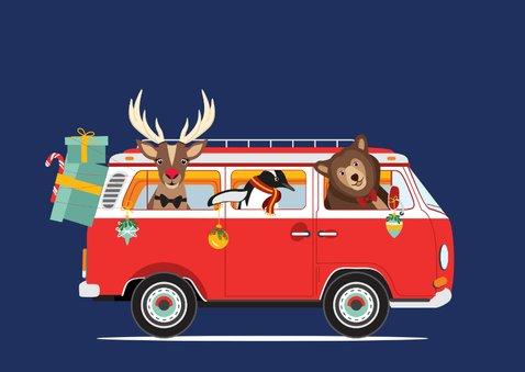 Een vrolijk Volkswagen busje vol kerst diertjes  3
