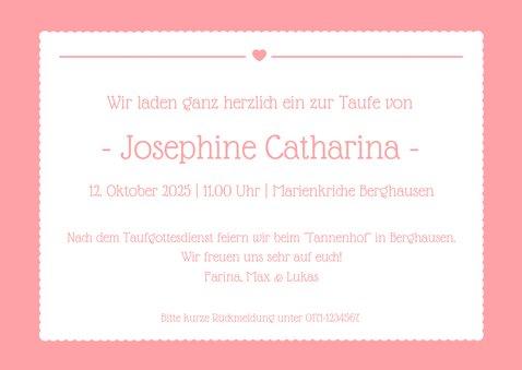 Eiladungskarte zur Taufe eigenes Foto rosa Herz 3