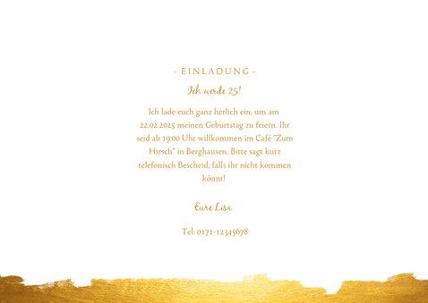 Einaldungskarte 25. Geburtstag Fotocollage mit gold 3