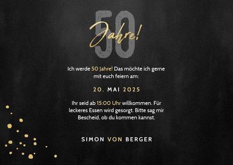 Einladung 50. Geburtstag mit Konfetti & zwei Fotos 3