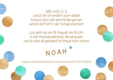 Einladung Einschulung Fotocollage & Konfetti blau 3