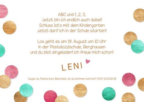 Einladung Einschulung Konfetti & Fotocollage pink 3