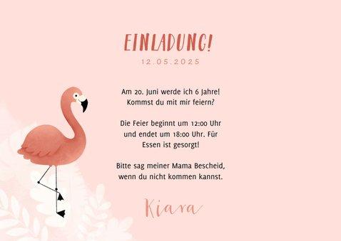 Einladung Kindergeburtstag botanisch Flamingo und Foto 3