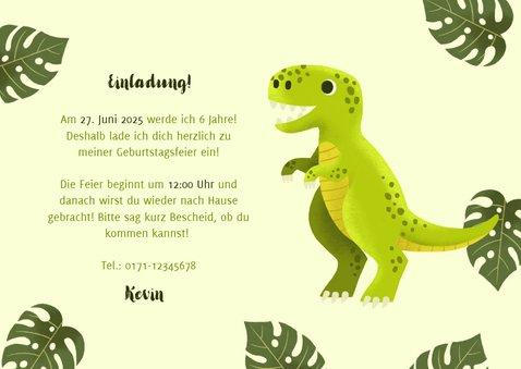 Einladung Kindergeburtstag Dinosaurier, Foto und Blätter 3