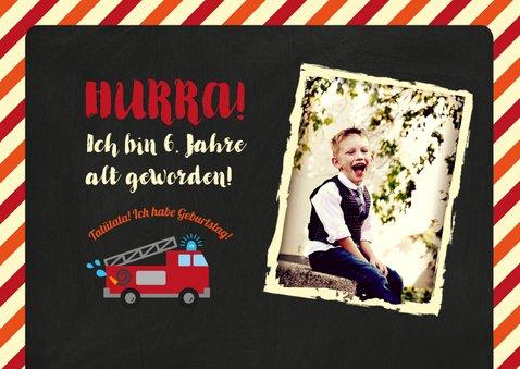 Einladung Kindergeburtstag Feuerwehr mit Foto 2